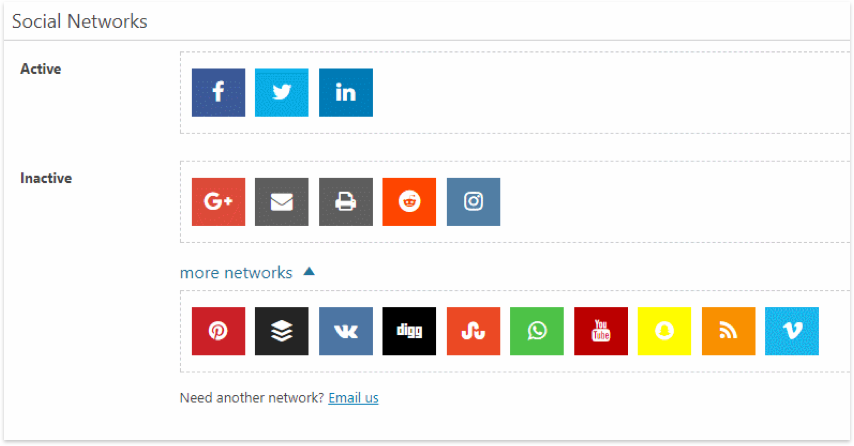 Social Share Network Selection