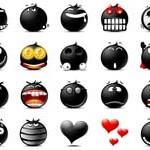 30 Black Emoticons