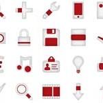 90 Minimalistica Red Icons