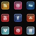 Free Icons: 12 Letter Pressed Social Icons