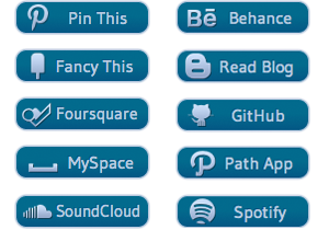 Blue Glyph Social Buttons