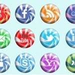 Free Icons: 16 Candy Social Icons