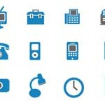 Free Vector Icons: 15 Blue Icons