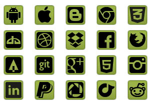 Green Social Icon Buttons