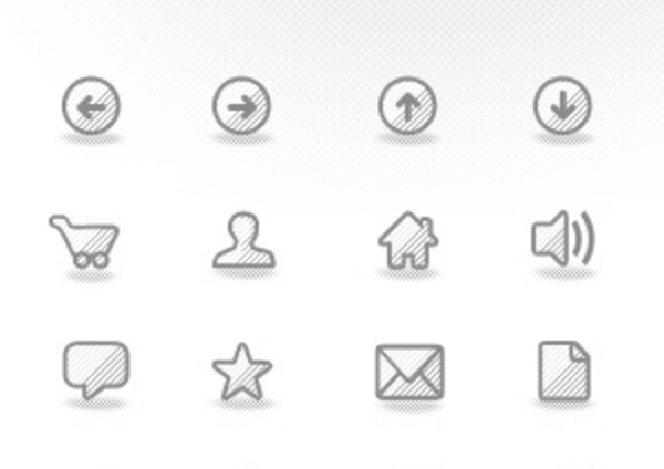The set contains icons which