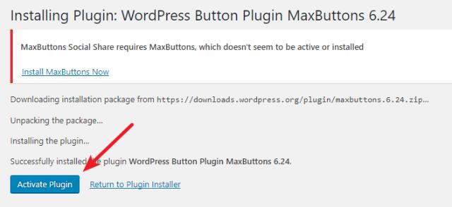 activate maxbuttons plugin