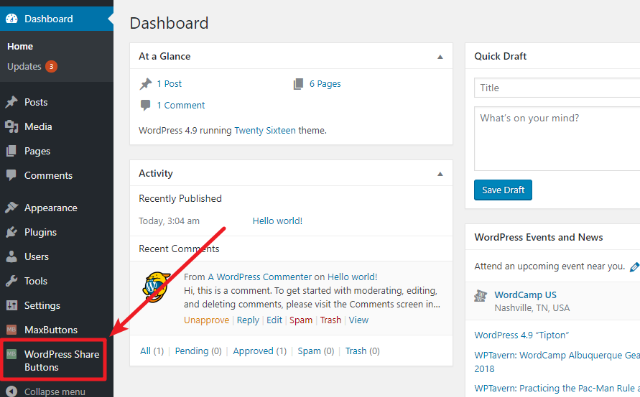 configure wordpress share buttons