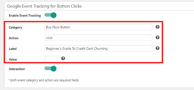 tracking button clicks with maxbuttons