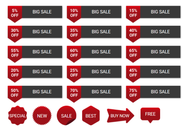 sale buttons pack